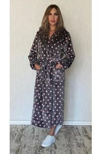 Женский длинный махровый халат горох