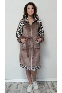 Женский короткий махровый халат на замке Леопард