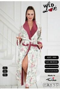 Женский натуральный халат без капюшона