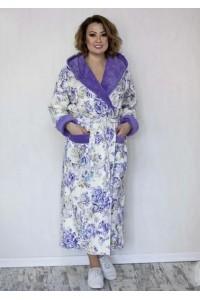 Женский натуральный халат c капюшоном