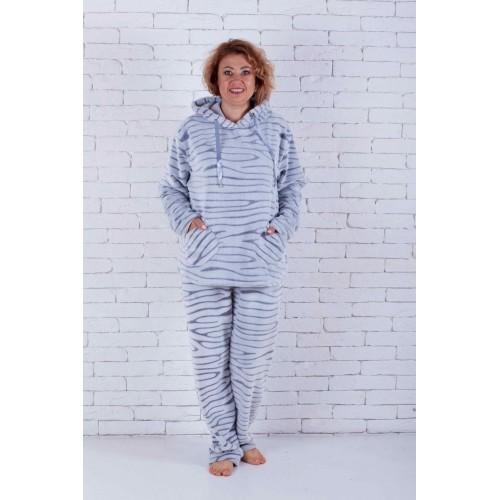 Пижама женская большого размера с капюшоном шиншилла