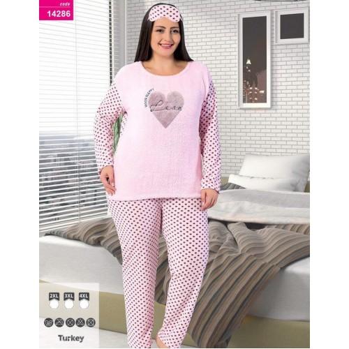 Тёплая пижама махра флис батал
