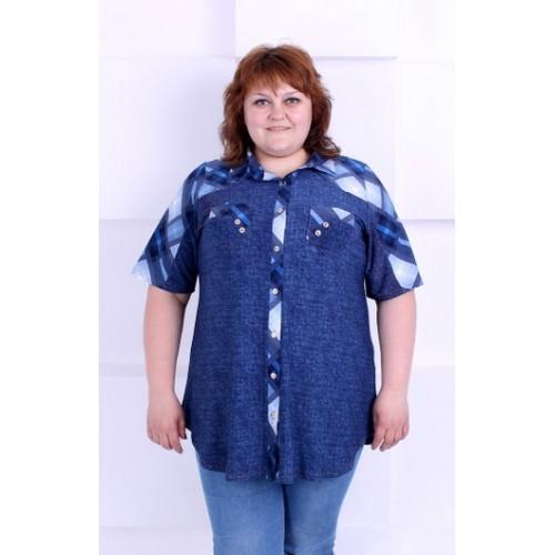 Большая женская блуза-рубашка на пуговицах
