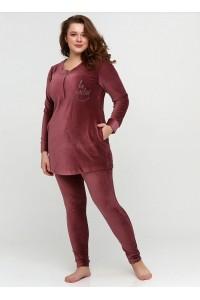 Велюровый модный костюм со штанами