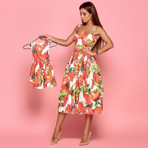 Яркое взрослое платье familylook 11060
