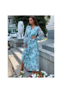Длинное шифоновое платье с оборкой 3206-0