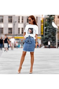 Джинсовая юбка с поясом 1462-0