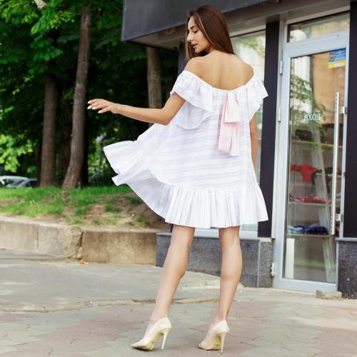 Платье с рюшей на спине бант 10824