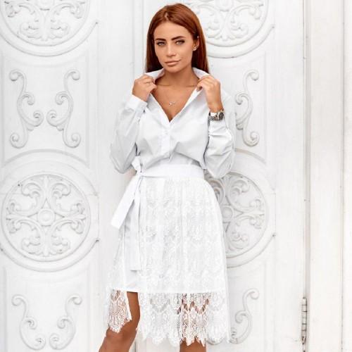 Симпатичное платье низ гипюр 10970