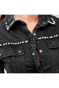 Джинсовое платье с камнями 3002-1