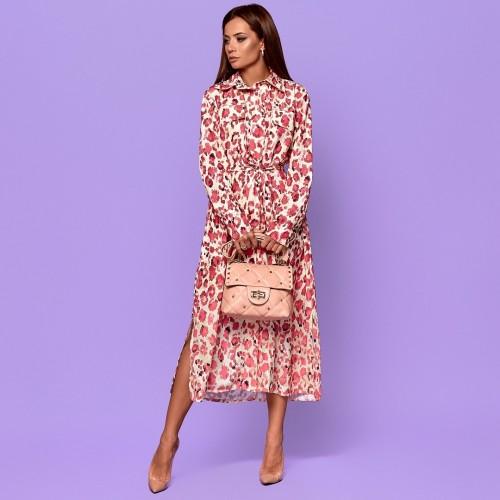 Платье рубашечного кроя цветастое 5009-5
