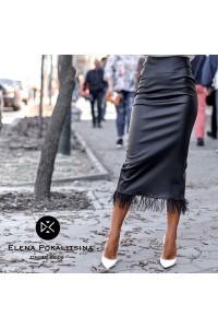 Кожаная юбка с перьями страуса 11255