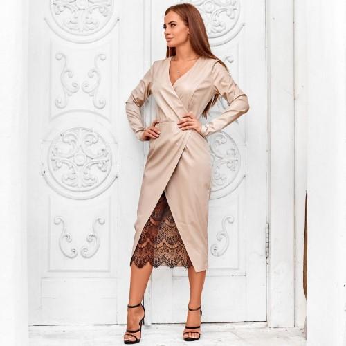 Стильное платье из экокожи 11219