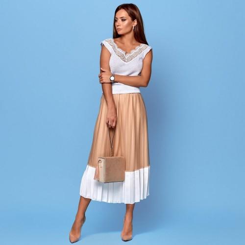 Плиссированная двухцветная юбка 9478