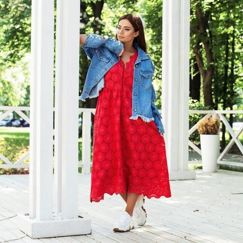 Платье прошва с узором цветы 23956