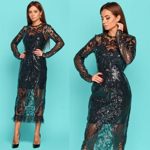Элегантное платье с узором из пайеток 11141