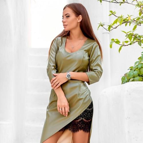Модное платье из экокожи 11224