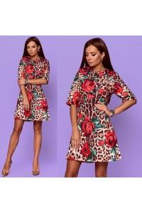 Пестрое платье леопард с розами 5884