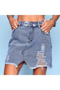 Джинсовая юбка с потертостями 547-0