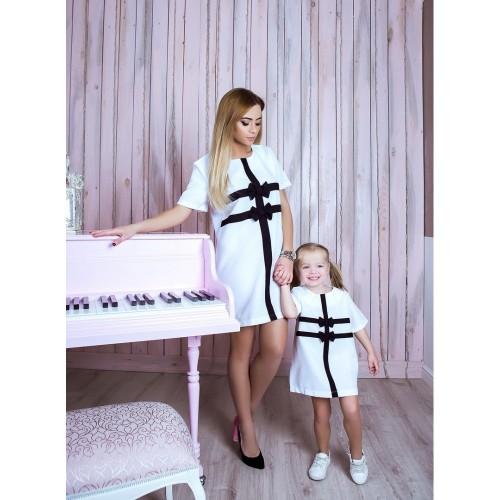 Платье бантики familylook 10738