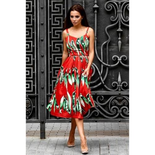 Яркое платье с завышенной талией 11085