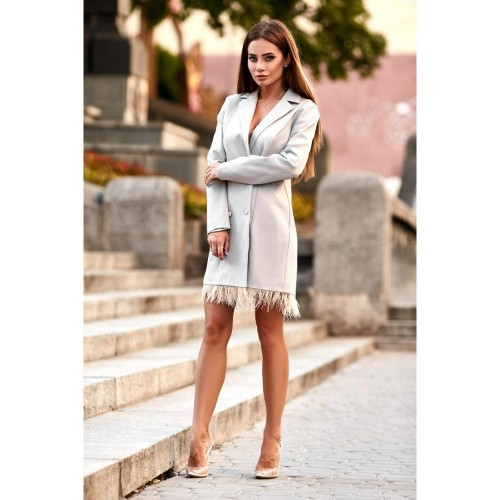 Платье-пиджак с перьями 10956