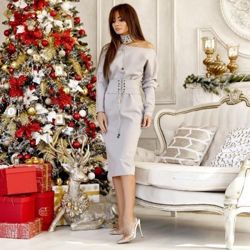 Платье интригующее со шнуровкой и чокером 10959