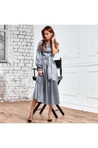 Асимметричное атласное платье 11187