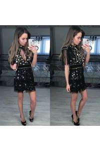 Вечернее платье в звездах и бахромой 5584