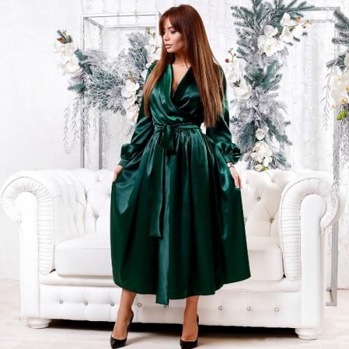 Атласное платье с поясом 11169